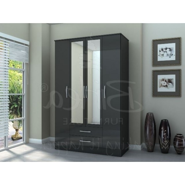 Most Popular Cheap Black Gloss Wardrobes In Cheap Birlea Lynx Black High Gloss 4 Door 2 Drawer Wardrobe For (View 13 of 15)