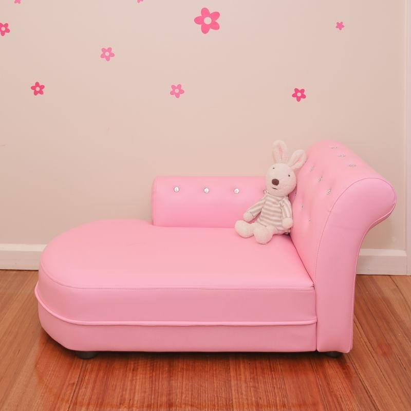 Most Popular Children's Chaise Lounges With Regard To Pink Pvc Leather Crystal Sofa Kids Lounge (View 13 of 15)
