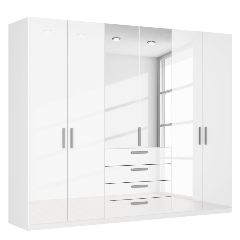 Most Popular Combi Wardrobes With Large White Glossy Wardrobes With Mirrors And Drawers On Sale London (View 7 of 15)