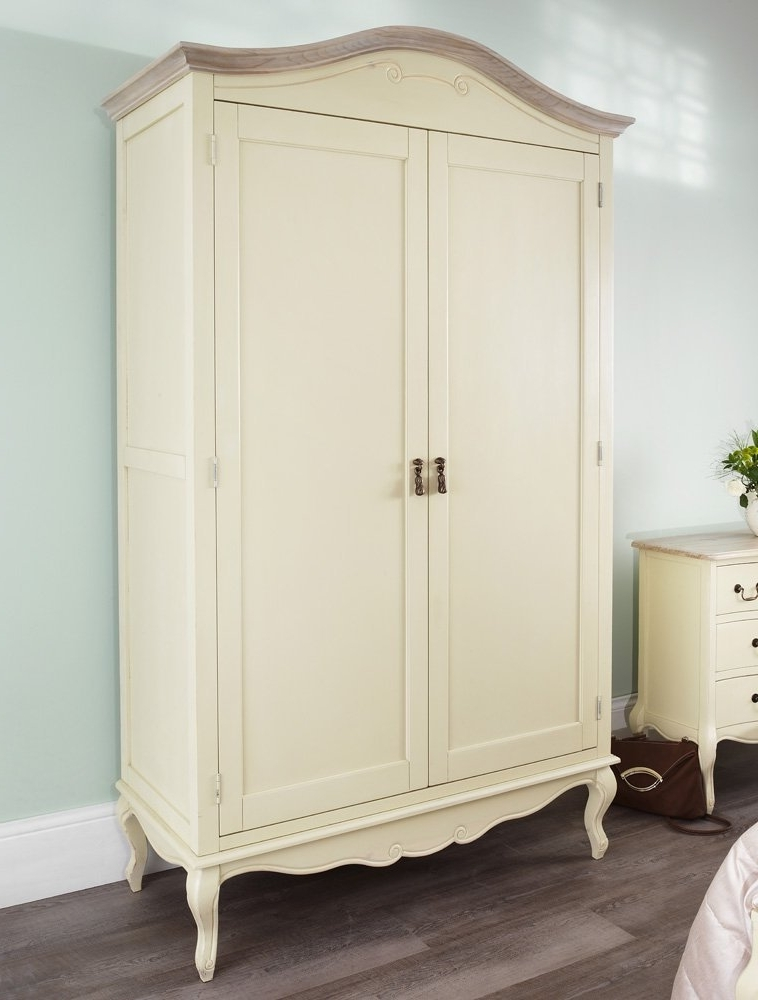 Most Popular Cream French Wardrobes With Regard To Juliette Shabby Chic Champagne Double Wardrobe, Stunning Large (View 10 of 15)