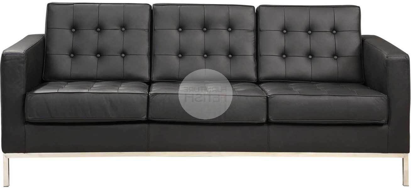 Most Popular Florence Knoll 3 Seater Sofas Intended For Florence Knoll Replica 3 Seater Sofa – Black Furniture Fetish Gold (View 5 of 10)