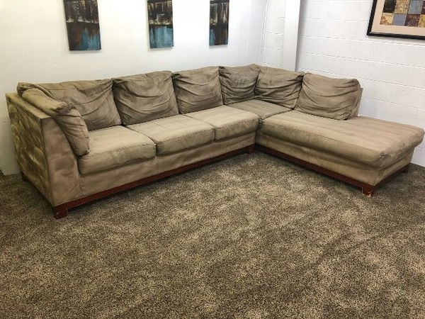 Most Popular Light Brown Microfiber Sectional Sofa W/ Chaise Lounge (Furniture Intended For Eugene Oregon Sectional Sofas (View 7 of 10)