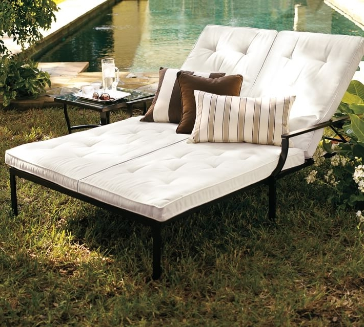 Most Popular Outdoor Double Chaises Throughout Riviera Double Chaise & Cushion (View 8 of 15)