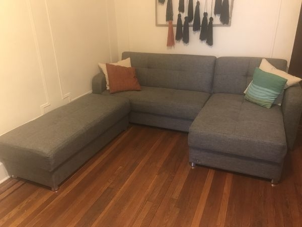 Most Popular Queens Ny Sectional Sofas In Big Gray Sectional Couch/ottoman Convertible Into King Size Bed (View 6 of 10)