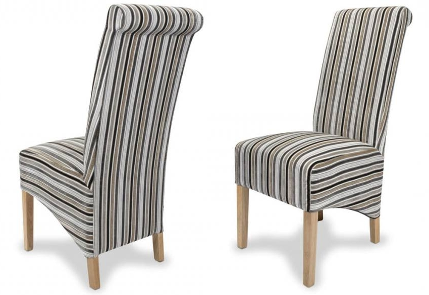 Most Popular Shankar – Krista Jupiter Dining Chairs – Natural Oak Legs – Stripe For Striped Sofas And Chairs (View 5 of 10)