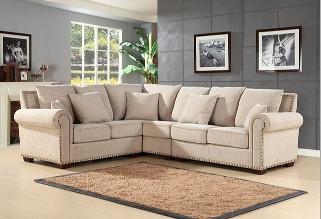 Most Popular Tan Sectionals With Chaise Inside Impressive Chaise Beige Sectional Sofa Charcoal Grey Tan With (View 5 of 15)