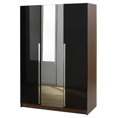 Most Popular Three Door Wardrobes With Mirror Pertaining To 3 Door Wardrobe With Mirror – Sleek Black – Las Vegas Modern (View 6 of 15)