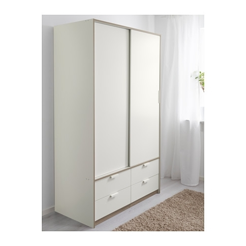 Most Popular Trysil Wardrobe W Sliding Doors/4 Drawers White 118X61X202 Cm – Ikea With Regard To White Wardrobes With Drawers (View 7 of 15)