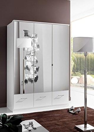 Most Popular White 3 Door Mirrored Wardrobes Inside Germanica Image 3 Door Mirrored Bedroom Wardrobe With Drawer (View 7 of 15)