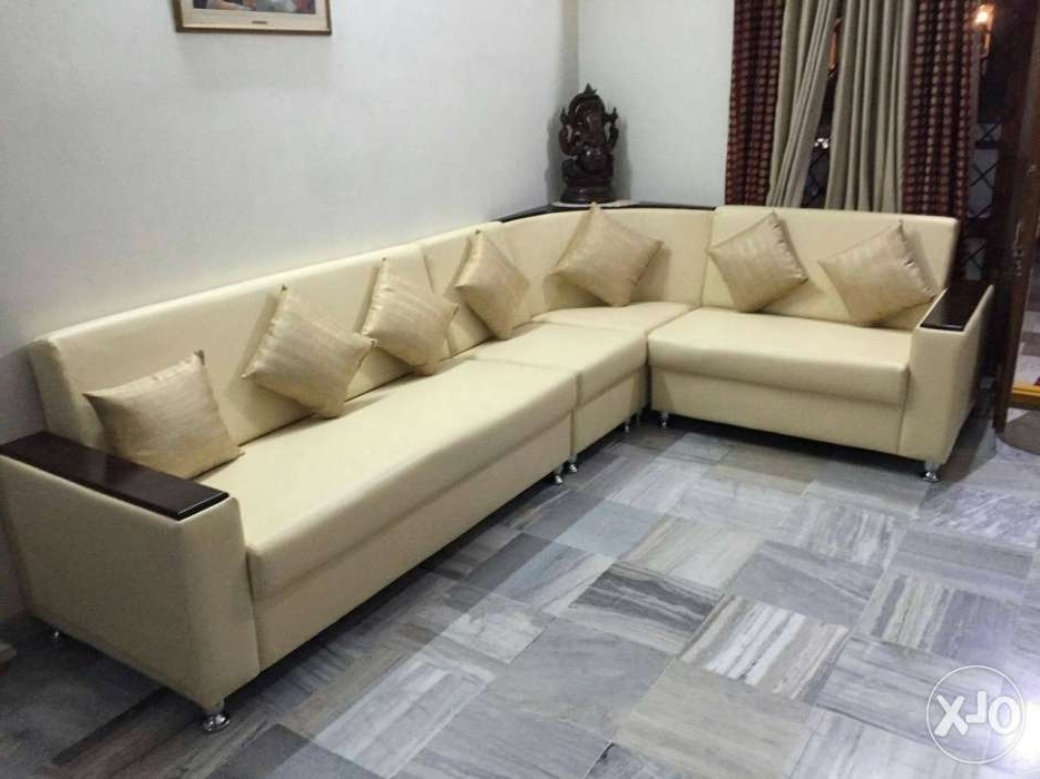 Most Popular White Leather Sectional Sofa With Ottoman – Hyderabad – Furniture Inside Sectional Sofas In Hyderabad (View 6 of 10)