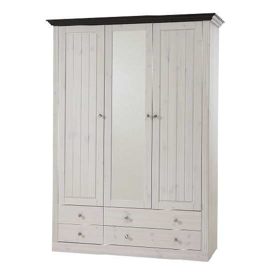 Most Popular White Wood Wardrobes With Drawers Within Monika Mirrored Wardrobe In White Wash Solid Pine With  (View 4 of 15)