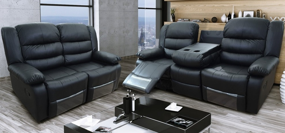 Most Recent 2 Seater Recliner Leather Sofas With Roma Recliner 3 + 2 Seater Bonded Leather Black (View 5 of 10)