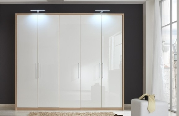 Most Recent 250 Cm White High Gloss Wardrobe With Oak Carcass And Passe Intended For