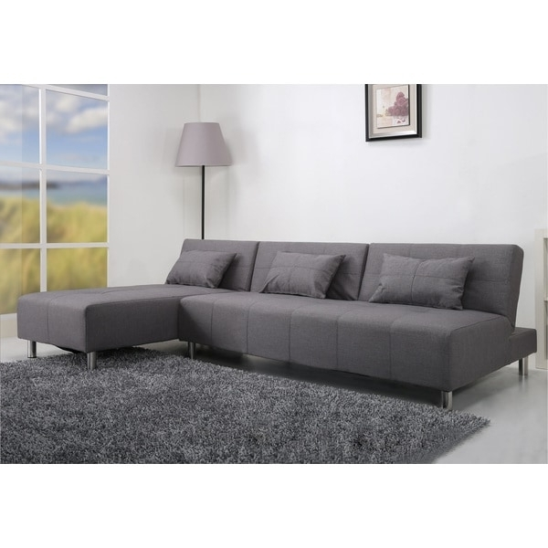 Most Recent Atlanta Light Grey Convertible Sectional Sofa Bed – Free Shipping Pertaining To Sectional Sofas In Atlanta (View 9 of 10)