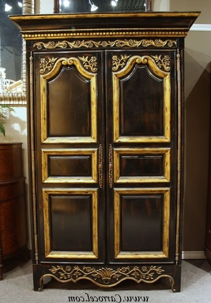 Most Recent Black And Gold French Armoire Wardrobeej Victor At 1Stdibs Throughout Black French Wardrobes (View 12 of 15)