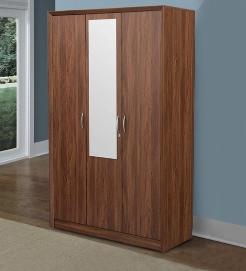 Most Recent Buy Stark Three Door Wardrobe With Mirror In Walnut Colour In Cheap 3 Door Wardrobes (View 8 of 15)