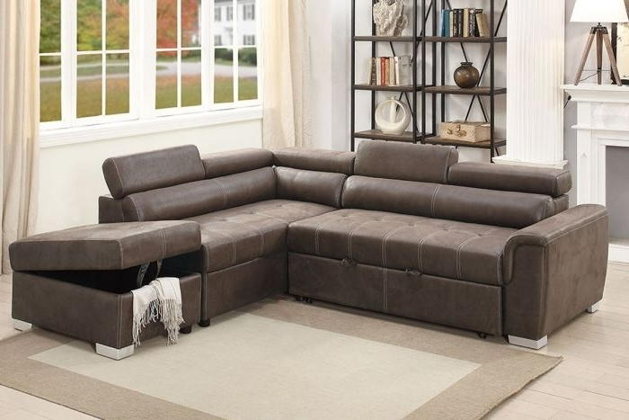 Most Recent Convertible Sectional Sofas In Poundex F6549 Dark Coffee Breathable Leatherette Convertible (View 6 of 10)