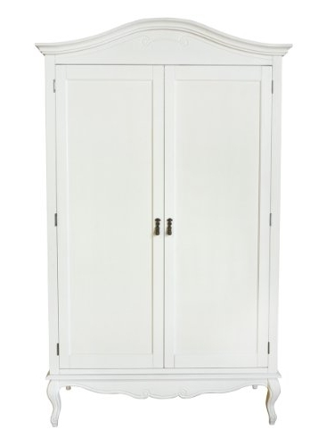 Most Recent Double Rail White Wardrobes Within Juliette Shabby Chic Antique White Double Wardrobe (View 9 of 15)