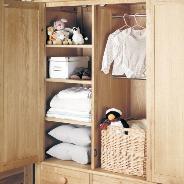 Most Recent Double Wardrobes With Drawers And Shelves Within Buy Baumhaus Amelie Oak Childrens Wardrobe – Double Online – Cfs Uk (View 14 of 15)