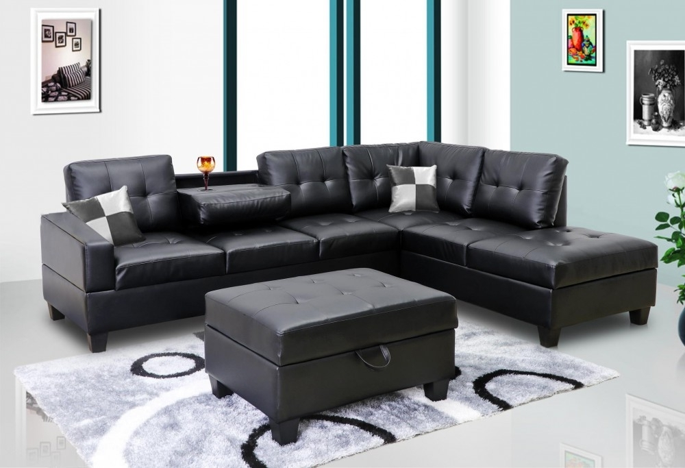 Most Recent Faux Leather Sectional Sofas Pertaining To Black Faux Leather Sectional (View 8 of 10)