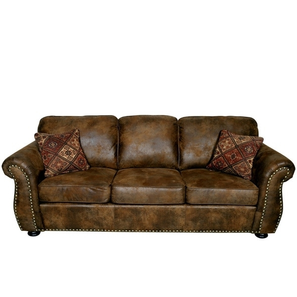 Most Recent Faux Suede Sofas Inside Porter Elk River Brown Microfiber Faux Suede Leather Sofa With (View 7 of 10)