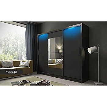 Most Recent Hearts Modern 3 Door Sliding Wardrobe With Large Mirror And Led For Black Sliding Wardrobes (View 9 of 15)