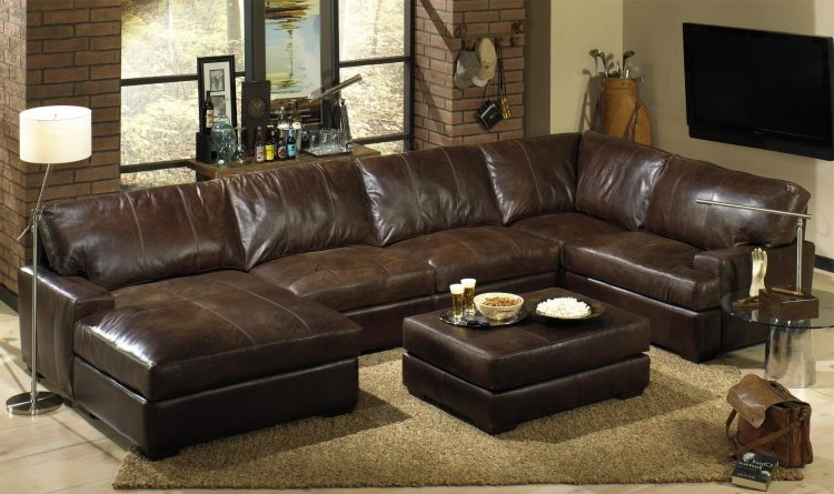 Most Recent Leather Sectionals With Chaise And Ottoman Pertaining To Leather Sectional Sofas With Recliners And Chaise With Dark Brown (View 4 of 10)