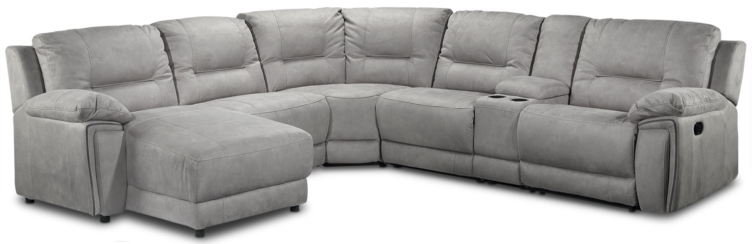 Most Recent Leons Sectional Sofas Within Pasadena 6 Piece Reclining Sectional With Right Facing Chaise (View 8 of 10)