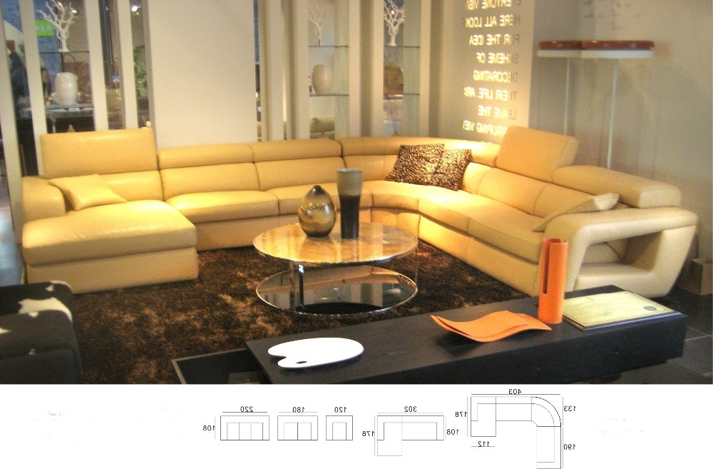 Most Recent Modern Italian Genuine Leather U Shaped Sectional Sofa Set With With Hawaii Sectional Sofas (View 7 of 10)