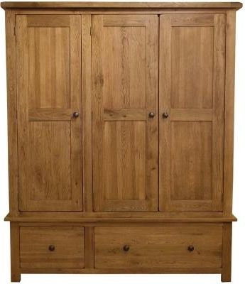 Most Recent Oak 3 Door Wardrobes With Regard To Rustic Oak 3 Door 2 Drawer Wardrobe (View 5 of 15)