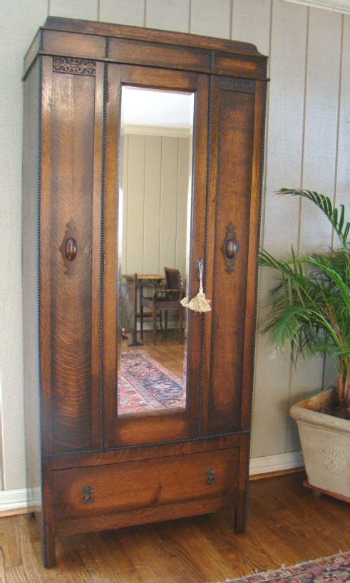 Most Recent Oak Wardrobes For Sale For Antique English Wardrobe Armoire~Mirror~Handsome Oak For Sale (View 4 of 15)