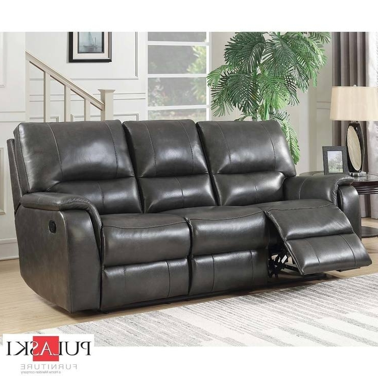 Most Recent Pulaski 3 Seater Grey Leather Manual Recliner Sofa (View 3 of 10)