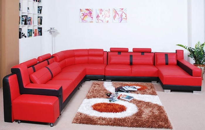 Most Recent Red Black Sectional Sofas With Regard To Modern Living Room With Red Leather Sectional Sofa Furniture Ideas (View 5 of 10)