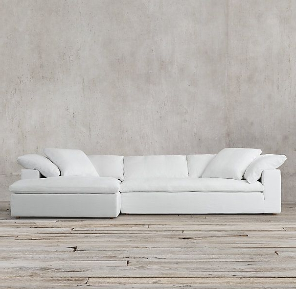 Most Recent Restoration Hardware Sectional Sofas Regarding Obsessed!! In Army Duck Fabric (fog Or Taupe Color) (View 7 of 10)