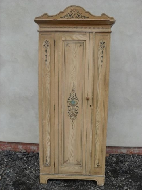 Most Recent Slim Ornately Painted Victorian Pine Single Wardrobe (View 8 of 15)