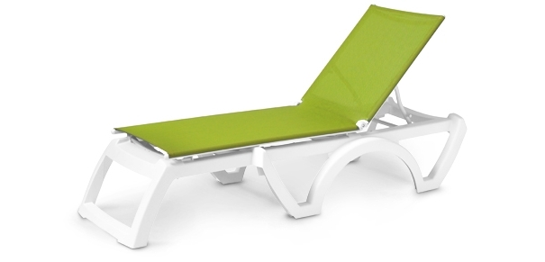 Most Recent Sling Chaise Lounge Chairs For Outdoor With Regard To Calypso Adjustable Stacking Sling Chaise Lounge (View 11 of 15)