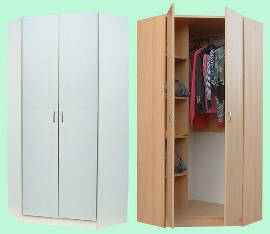 Most Recent Small Corner Wardrobes Pertaining To Junita 2 Door Corner Wardrobe – M2090B Beech & M2090W White (View 8 of 15)