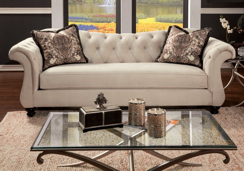 Most Recent Traditional Sofas Regarding Antoinette Traditional Ivory Premium Fabric Sofa Couch – Shop For (View 4 of 10)