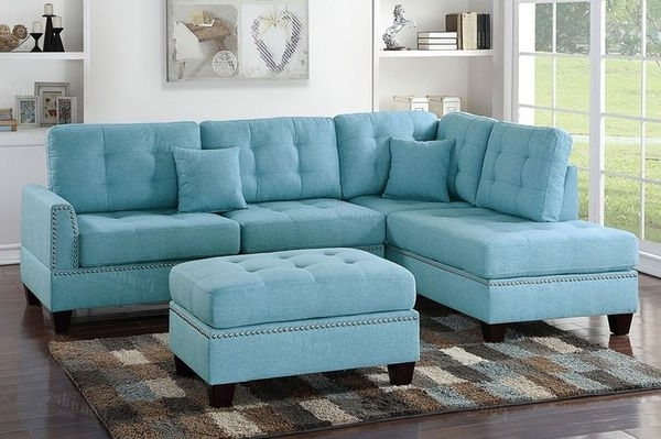 Most Recent Visalia Ca Sectional Sofas Throughout Blue Sectional With Ottoman Featuring The Populate Nailhead Trim (View 5 of 10)