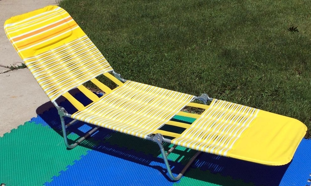 Most Recent Web Chaise Lounge Lawn Chairs Within Vintage 80's Vinyl Cushion Tube Web Adjustible Folding Chaise (View 7 of 15)