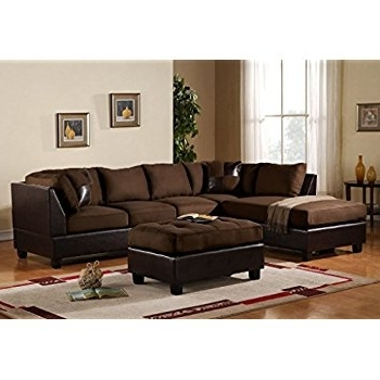 Most Recently Released Amazon: 3 Piece Modern Microfiber Faux Leather Sectional Sofa For Chocolate Sectional Sofas (View 6 of 10)