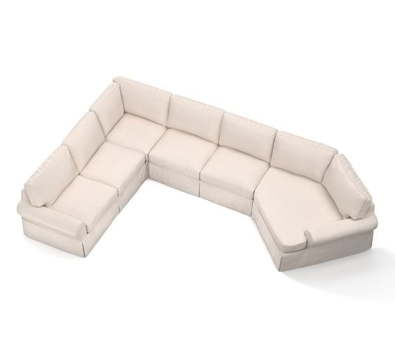 Most Recently Released Angled Chaise Sofas Inside Pb Basic Slipcovered Grand 4 Piece Angled Chaise Sectional (View 3 of 10)