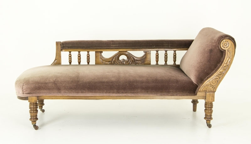 Most Recently Released Antique Chaise Lounges Pertaining To Antique Walnut Sofa, Chaise Lounger, Vintage Chaise, Antique Couch (View 7 of 15)