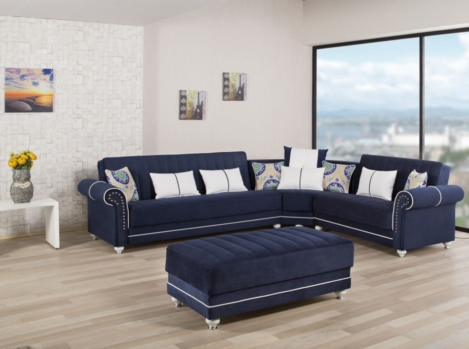 Most Recently Released Blue Sectional Sofas Within Sectional Sofa Bed Royal Home Dark Bluecasamode (View 8 of 10)