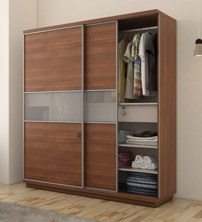 Most Recently Released Buy Nebula Sliding Two Door Wardrobe In Dark Brown Colour For Dark Brown Wardrobes (View 9 of 15)