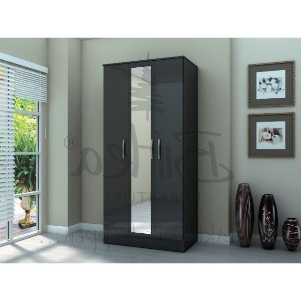 Most Recently Released Cheap Birlea Lynx Black High Gloss 3 Door Wardrobe For Sale At Inside Cheap Black Wardrobes (View 9 of 15)