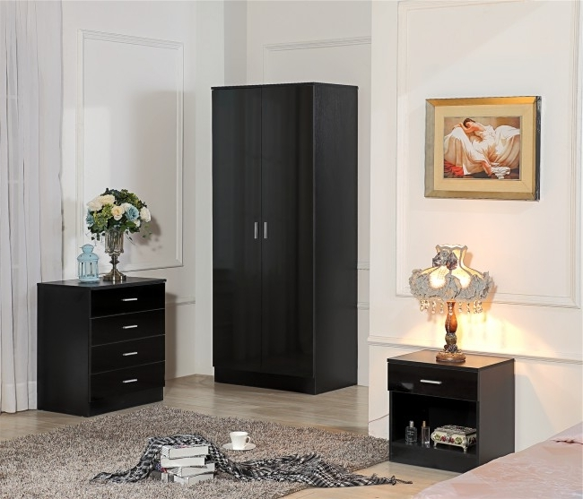 Most Recently Released Cheap Black Gloss Wardrobes Within Ossotto Black On Biack High Gloss Bedroom Furniture 3 Piece Set (View 7 of 15)