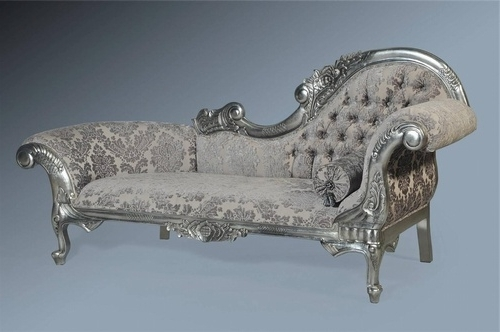 Most Recently Released Damask Chaise Lounge Chairs Pertaining To The Flower Carved Chaise Longue: Antique Silver Leaf & Grey Damask (View 13 of 15)