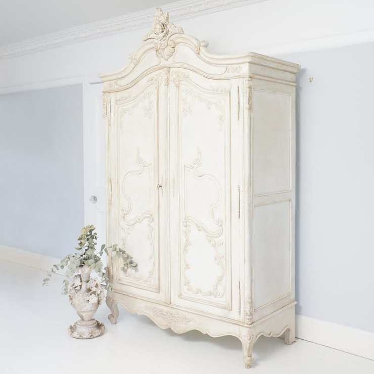 Most Recently Released Delphine Distressed White French Armoire Wardrobe Hand Carved Within French Wardrobes (View 11 of 15)