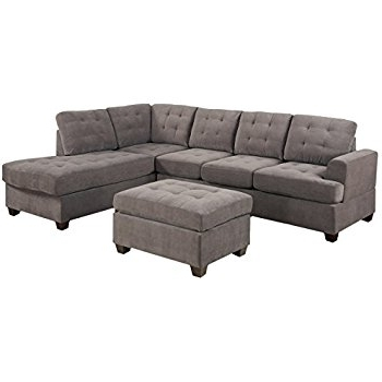 Most Recently Released Gray Couches With Chaise With Regard To Amazon: 3Pc Modern Reversible Grey Charcoal Sectional Sofa (View 8 of 15)
